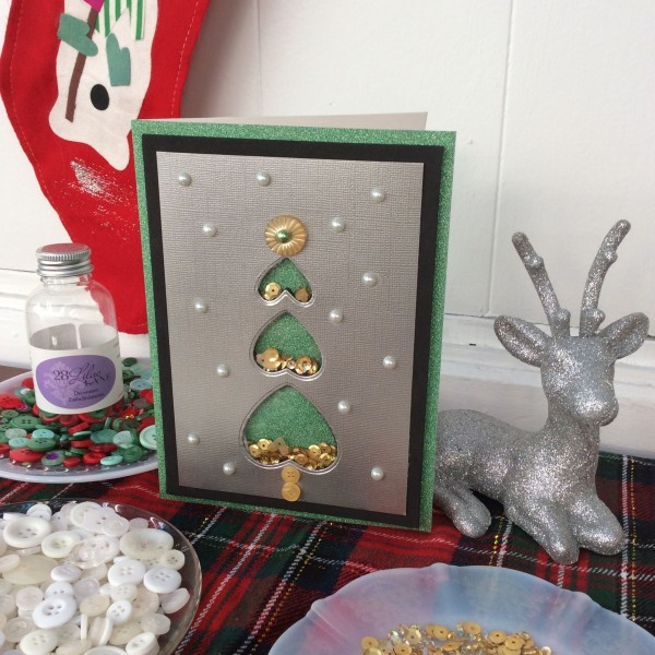 Heart dies make a great Christmas tree shaker card