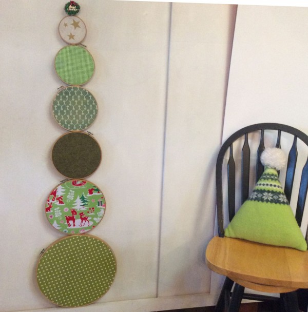 Embroidery hoop and fabric Christmas tree