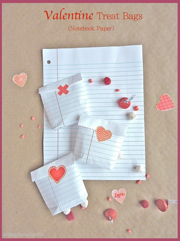 How to make recycled notebook paper Valentine treat bags