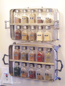 Recycled metal dish holder spice rack