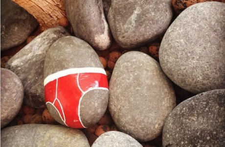 Painted underpants on rocks