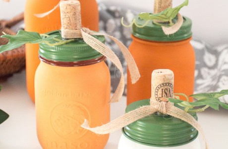 Recycled corks and mason jars make adorable pumpkins