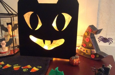 Glass block black cat Halloween decoration