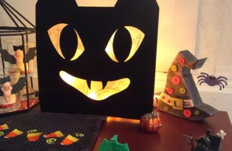 Glass block black cat Halloween decoration