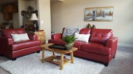 Red Bonded Sofa and Chair