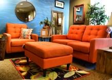 Orange Living Room Mid Century Set