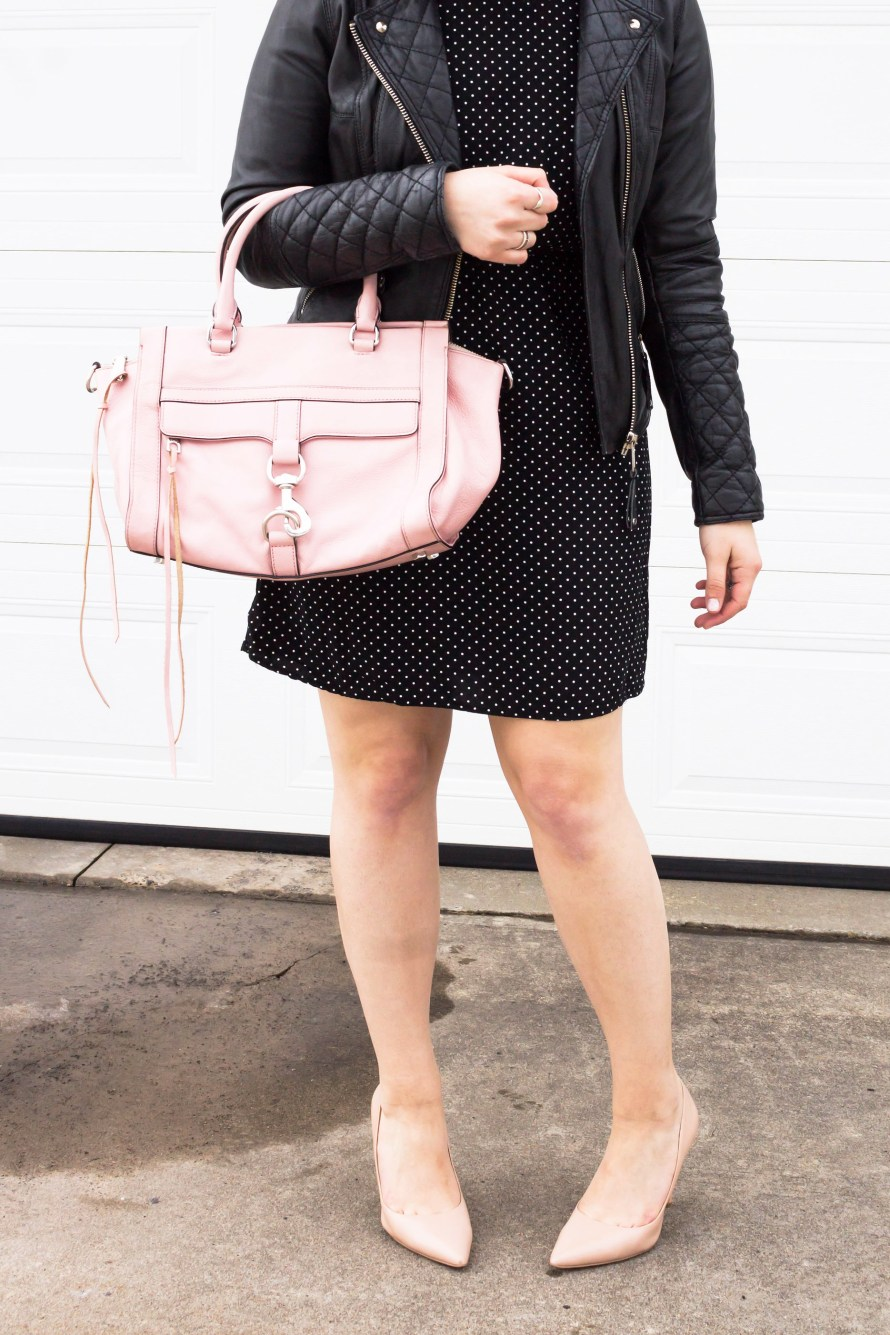Look for Less: Leather Jacket and Polka Dot Dress
