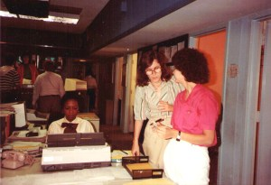CNN's PJ Robinson, Pam Benson and Carol Cratty in the original DC Newsroom.