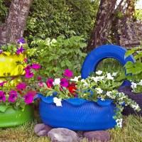 DIY: Autoreifen bunt anmalen als Gartengestaltung