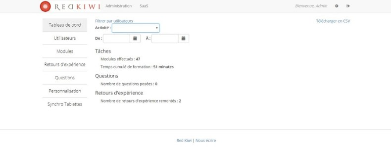 Interface administrateur dans plateforme de micro-learning MicroKiwi