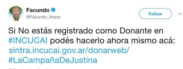 Un tweet del actor Facundo Arana. Imagen: MultiplicateX7