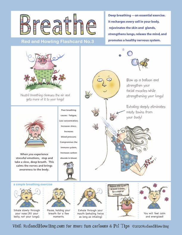 Red and Howling Wellness Flashcard 3: Breathe