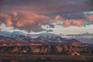 la sal mountains at sunset moab utah arches national park