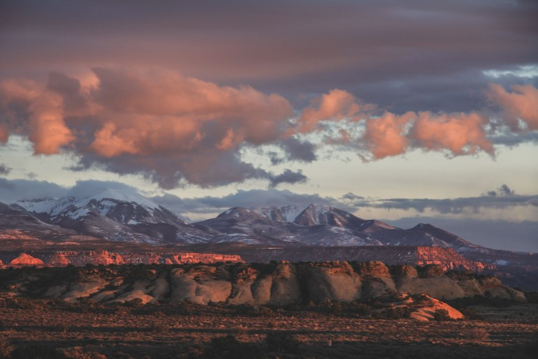 la sal mountains at sunset moab utah arches national park