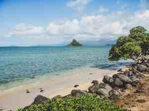 rock on oahu shore hawaii