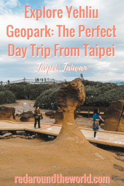 Yehliu Geopark is the perfect day trip from Taipei. It's easy to get to by bus and fun to explore. It's an otherworldly experience wandering among the rock formations at Yehliu. It's a great way to spend a few hours on a sunny or rainy afternoon in Taipei. #taipei #taiwan #travel #asia #eastasia #solotravel #solofemaletravel #backpacking #backpackingtaiwan