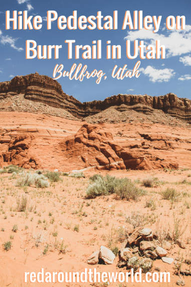 Pedestal Alley is a great easy hike in Utah. If you're visiting Lake Powell this is a great nearby hike. Pedestal Alley is an easy hike near Bullfrog, Utah that can be done in an afternoon. It's a great way to explore and hike on Burr Trail, too. #utah #lakepowell #bullfrogutah #hiking #usaroadtrip #burrtrail #utahhikes #utahhiking #glencanyon #glencanyonnationalrecreationarea
