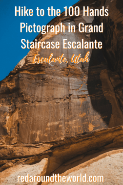 The 100 Hands Pictograph in Escalante is an easy hike that you can do whether you're passing through or staying in Escalante for a few days. It's a short hike in Escalante in Utah and the perfect stop on a road trip. #roadtrip #utah #escalante #hiking #usa #nationalpark #southwestusa
