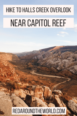 The Halls Creek Overlook hike on Burr Trail is great stop on the scenic drive. Take Burr Trail from Boulder to Bullfrog Utah to see Lake Powell. Hike in Utah.