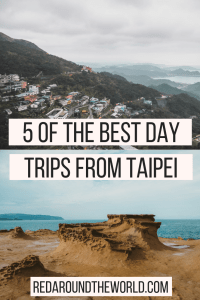 There are so many great day trips from Taipei, it can be hard to choose only one. These are five of the best day trips from Taipei that you can easily do. Jiufen, Yehliu Geopark, Tamsui, Shifen, Pingxi, and Beitou hot springs all make great taipei day trips.