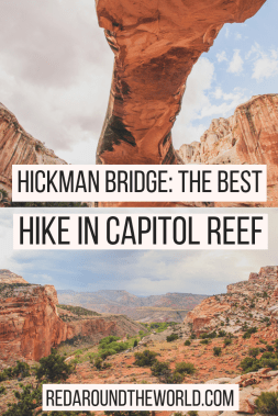One of the best hikes in Capitol Reef is Hickman Bridge Trail. It is also one of the easiest hikes in Capitol Reef. If you're going to Capitol Reef on a Utah road trip, make sure to see Hickman Bridge. It's a must on a Utah national park road trip.