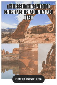 Potash Road in Moab, Utah is a great way to escape the crowds of Arches National Park. Hike to Corona Arch spot petroglyphs and dinosaur tracks and the river. Moab travel   Moab things to do   Moab vacation   Moab hikes   Easy hikes in Moab   Cool things in Moab   Potash Road Moab   Corona Arch Hike