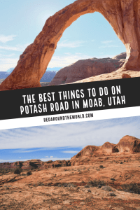 Potash Road in Moab, Utah is a great way to escape the crowds of Arches National Park. Hike to Corona Arch spot petroglyphs and dinosaur tracks and the river. Moab travel | Moab things to do | Moab vacation | Moab hikes | Easy hikes in Moab | Cool things in Moab | Potash Road Moab | Corona Arch Hike