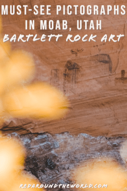 The Bartlett Rock Art site is a set of pictographs in Moab that are easy to get to and depict alien figures. Make sure you visit the Bartlett Pictographs. Utah national parks | Utah road trip | hiking in Utah | best things to do in Utah | Utah hikes | Utah road trip itinerary | national parks in Utah | Moab utah | Moab things to do | rock art in utah | utah travel | Utah things to do | utah vacation | Moab vacation | Moab travel | moab hikes | hiking in moab