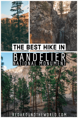 The Falls Trail in Bandelier National Monument is a great moderate, lightly trafficked waterfall hike near Santa Fe, New Mexico. New Mexico vacation | New Mexico travel | New Mexico things to do | Santa Fe hikes | Santa Fe things to do | Bandelier national monument | Falls Trail bandelier national monument | new Mexico waterfall