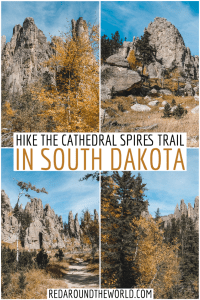 On your next black hills road trip, make sure you hike the Cathedral Spires Trail on the Needles Highway. The Cathedral Spires trail is moderate and dramatic. South Dakota hikes | south Dakota road trip | black hills road trip | black hills south Dakota hikes | black hills hikes | cathedral spires south Dakota | cathedral spires trail | hiking south Dakota | south Dakota vacation | south Dakota travel | custer state park hikes