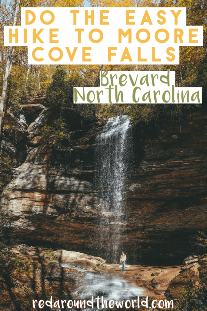 The Moore Cove Falls hike is a great easy hike just outside of Brevard, North Carolina.  It's perfect for the whole family. moore cove falls brevard | moore cove falls north carolina | north carolina waterfalls | north carolina hikes | north carolina things to do | brevard waterfalls | north carolina vacation | north carolina waterfall hikes