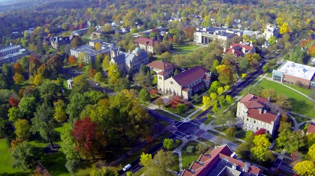 Aerial view of Finney Chapel, Oberlin College, Oberlin, Ohio, United States (oberlin.edu)