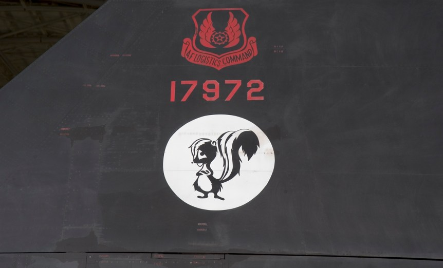 Skunk Works logo on Museum's SR-71. Photo #2005-6014 by Dane Penland, Smithsonian National Air and Space Museum.