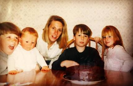 Mother of Kelly Martin, Janet with her children: Kevin, Ryan, Connor and Kelly.