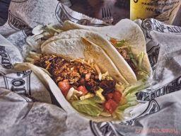 Pork mole & cheese tacos