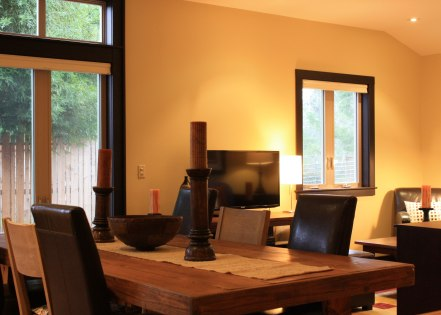 Mendocino Vacation Rental Red Barn Retreat Dining and Living Room View