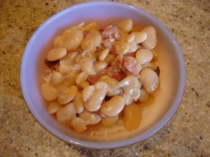 A bowl of baby lima beans and ham