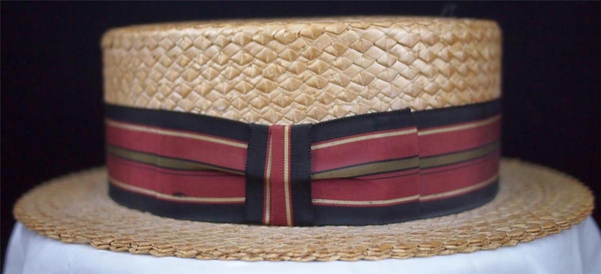 Vtg STETSON Straw Boater Skimmer Hat Stripe Grosgrain