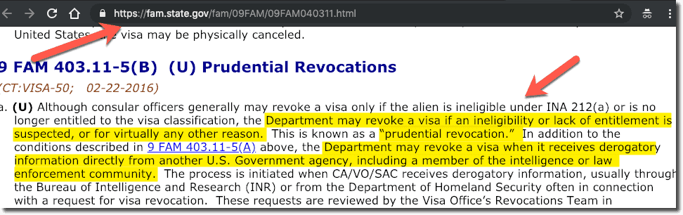 US Visa Prudential Revocation DUI