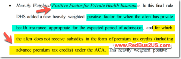 Premium Tax Credits- Obamacare - Impact for Public Charge Rule