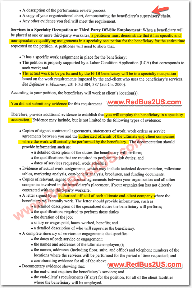 H1B RFE - Services for Speciality Occupation at Third Party site Sample by USCIS