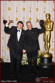 Michael Moore and Michael Donovan in the Press Room at the 75th Annual Academy Awards®