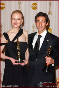 Actors Nicole Kidman and Adrien Brody in the Press Room at the 75th Annual Academy Awards®