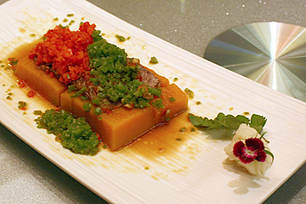 Steamed Pumpkin with Bean Paste Sauce