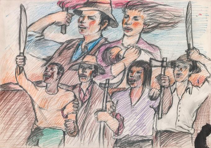 Granada Carlos Bosquejos para valla Viva la Alianza Taller 4 rojo 2 Lapiz graso sobre papel 35,5x50cm PEQ
