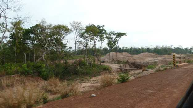 Road cut through the community forest areas by the military; location next to the Dangrek escarpment, Cambodia-Thai border  (March 2012).