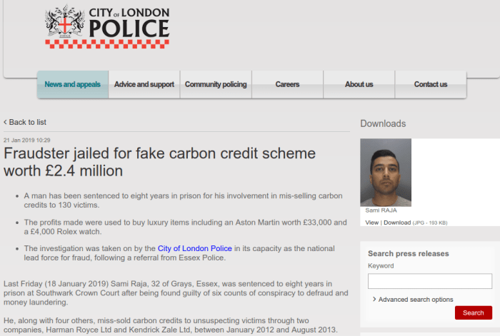 Is carbon credit scammer Sami Raja in prison in the UK, or still