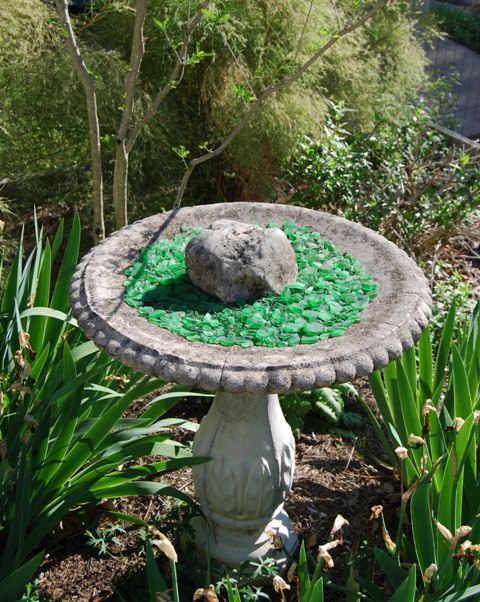 Birdbath with Tumbled Glass from Pam Penick's first garden in Austin, TX.