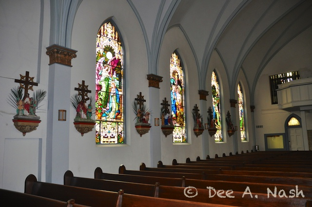 Stained glass windows at St. Marys