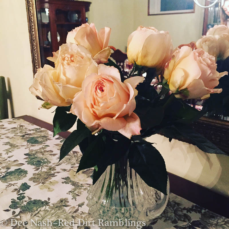 Bouquet of roses grown in California and sold at Whole Foods.